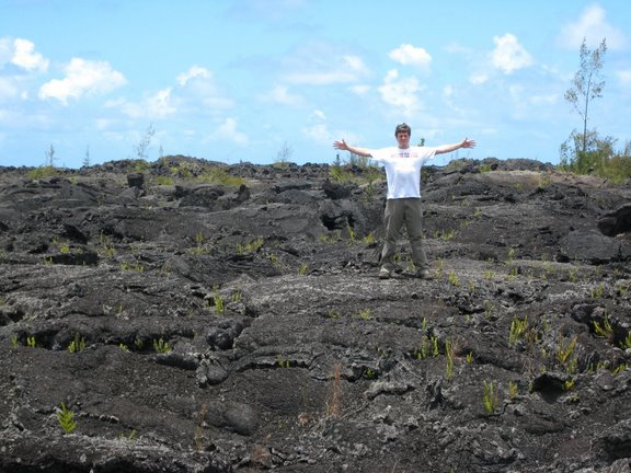 truk in a lava field in Puna, Hawaii